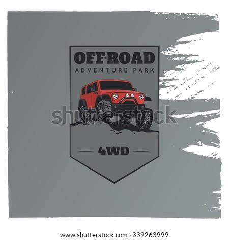 Classic off-road suv car emblem.  Rock crawler car, off-road suv adventure and car club design elements on grunge grey background. - stock vector