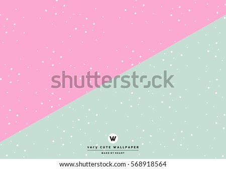 Classic Pink And Green Cute Two Tone Wallpaper With White Polka Dots