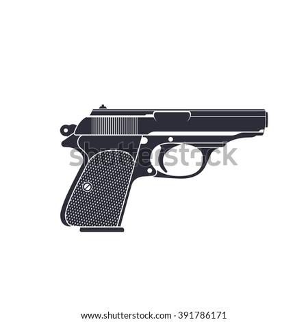 classic pistol, gun vector, world war 2 german pistol, handgun, vector illustration - stock vector