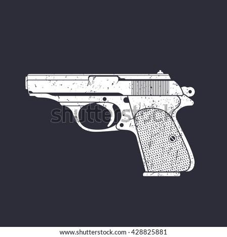 classic pistol, old handgun silhouette, world war 2 german pistol, white on dark, vector illustration - stock vector