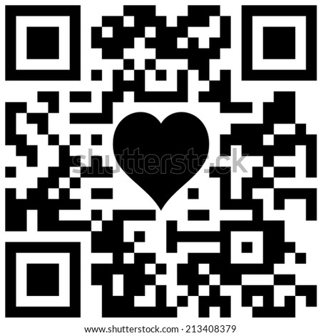 """Classic QR code and heart with text """"Sample QR code"""" - stock vector"""