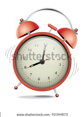 Classic red alarm clock over white background
