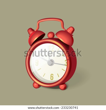 Classic red alarm clock with bells on top, vector illustration - stock vector