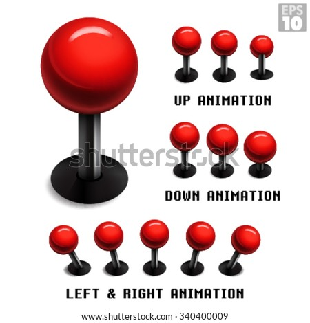 Classic red arcade game joystick with animated stills in up, down, left and right movements. - stock vector