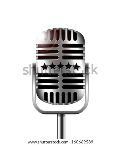 Classic retro microphone on a white background - stock vector