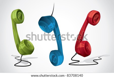 Classic - retro phone handset for contact form and banner - stock vector