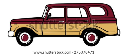 Classic retro station wagon. Isolated vector illustration