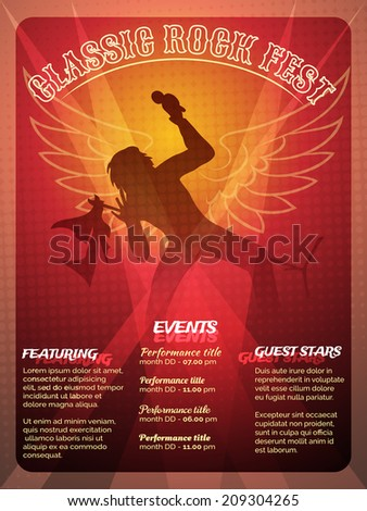 Classic Rock Fest poster design in a striking red and orange of a vocalist performing onstage at a concert with wings behind him and menus templates for Events  Featuring and Guest Artists