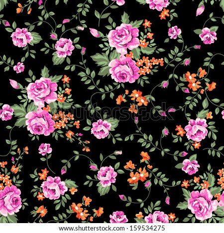classic roses ~ seamless vector background - stock vector