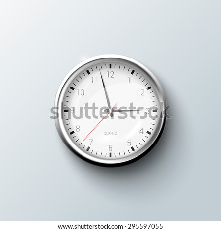 Classic round wall clock with shadow on the grey background. - stock vector