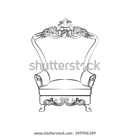 Classic royal armchair with luxurious ornaments . Vector sketch
