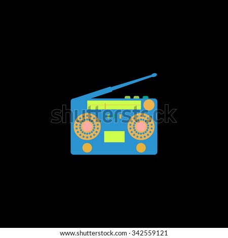 Classic 80s boombox. Color vector icon on black background - stock vector