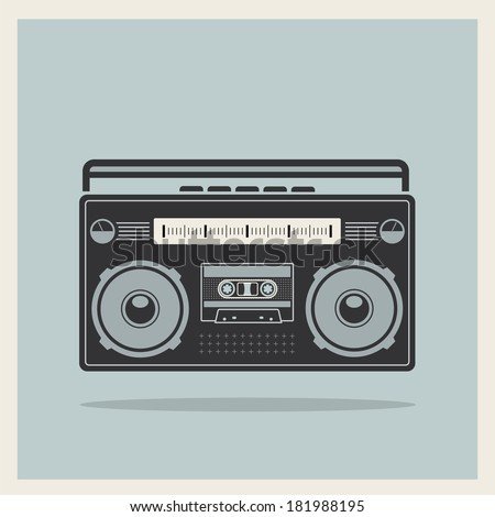 Classic 80s boombox on Retro Background Detailed Vector Icon - stock vector
