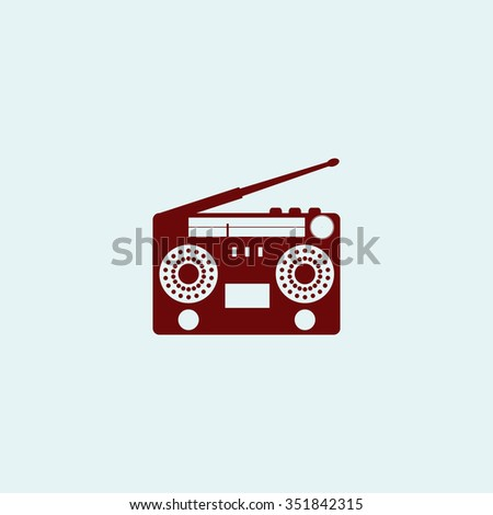 Classic 80s boombox. Red vector icon. Simple modern illustration pictogram. Collection concept symbol for infographic project and logo - stock vector