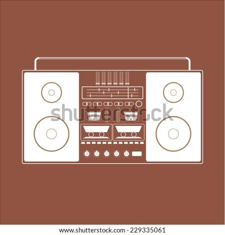 Classic 80s boombox. Retro stereo cassette player Icon. - stock vector