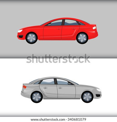 Classic set of two cars vector illustration over background. Red and silver colors.  - stock vector