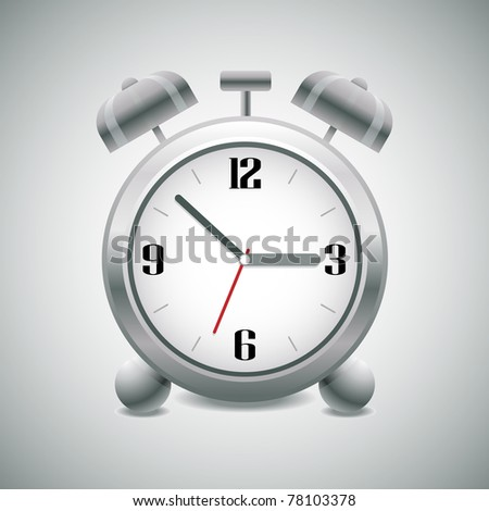 Classic silver alarm clock with bells on top - stock vector