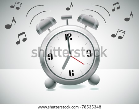 Classic silver alarm clock with bells on top ringing - stock vector