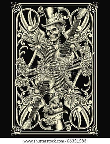 Classic Skeleton Playing Card - stock vector