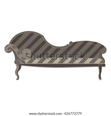 classic sofa monochrome flat icon in gray color theme illustration object - stock vector