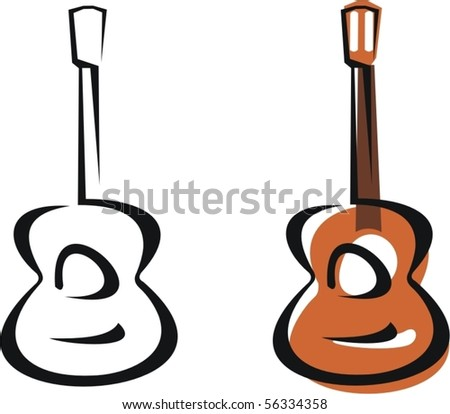 Classic Spanish guitar - stock vector