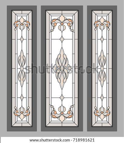 Classic Stained Glass Doors Vector Stock Vector 2018 718981621