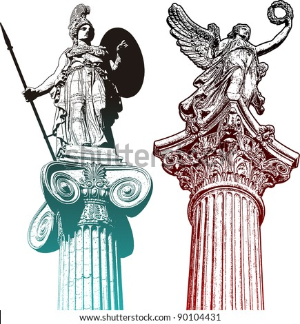 Classic statues - stock vector