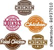 Classic Style Chicken Stamps - stock vector