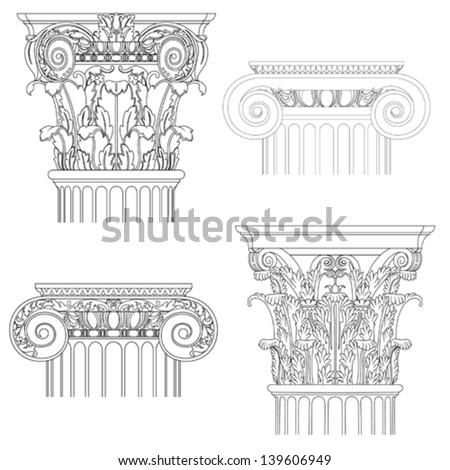 classic style column , vector set - stock vector
