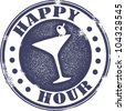Classic Style Happy Hour Cocktail Stamp - stock