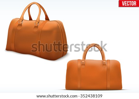 Classic Stylish Leather Handle Bag. Perspective and side view. Fashion accessory. Vector illustration Isolated on white background.