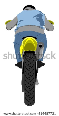 Classic Supermoto Motorcycle With Rider Wearing Sleeveless Jeans Jacket,  Hoodie, Black Leather Gloves And
