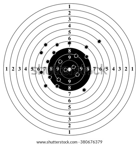 Classic target with bullet holes. Result of shooting on target. Target with numbers and bullet holes. Vector illustration. - stock vector