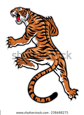 classic tattoo pose of tiger - stock vector