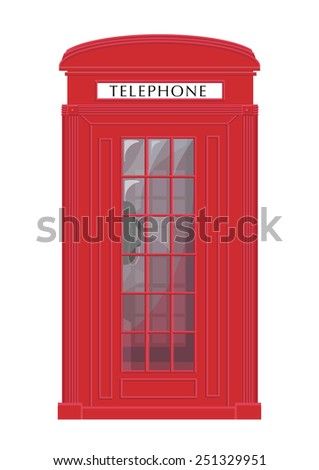Classic UK Red Phone Booth Vector. Isolated on white background. Also used in countries like Bermuda, gibraltar and malta. - stock vector