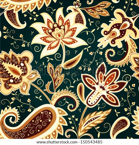 Classic vector floral seamless pattern in brown and green colors - stock vector