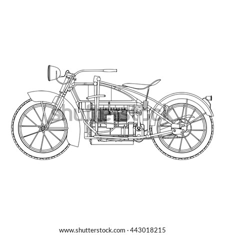 Classic vector outline black bike silhouette and sport vehicle fast race road. Transport power vintage illustration isolated on white background.