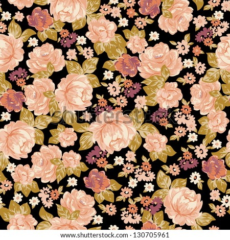 Classic vector roses seamless background - stock vector