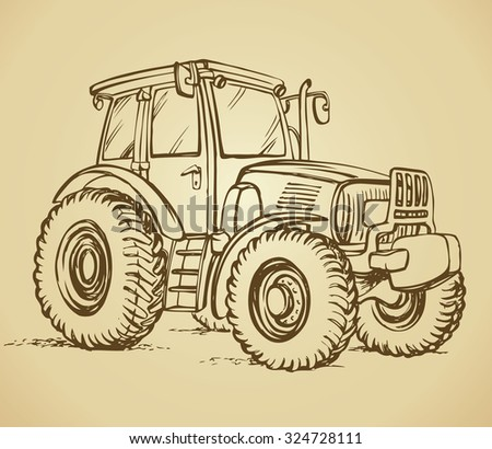 Classic village land agrimotor utility model with big rubber bus. Vector freehand linear ink hand drawn icon picture sketchy in art scribble style pen on paper. Side view with space for text on land - stock vector