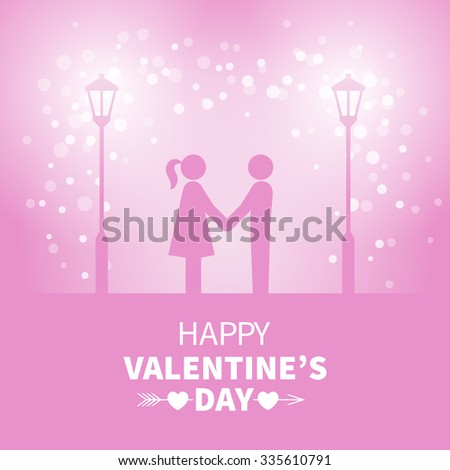 Classic vintage badge in retro design for Valentines Day with sweethearts and street light on the pink background with falling snow - stock vector