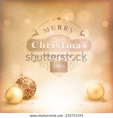 Classic vintage Christmas background with baubles and label. Desaturated shades of golden beige and white with vignetting and light effects give it an aged and retro feeling. - stock vector