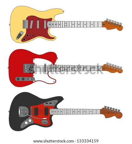 classic vintage electric guitar vector set - stock vector