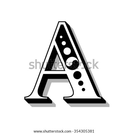 Classic vintage font, letter A - stock vector