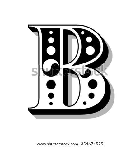Classic vintage font, letter B - stock vector