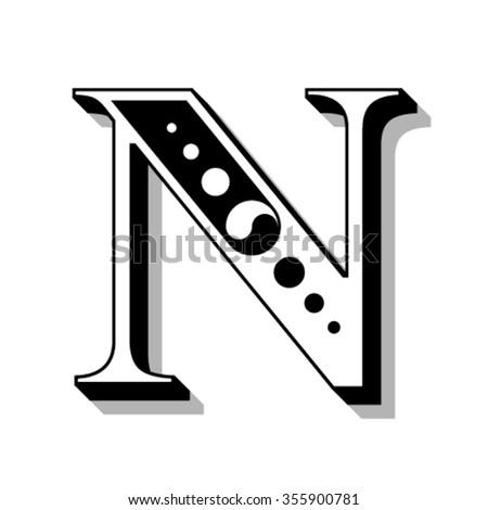 Classic vintage font, letter N, vector - stock vector