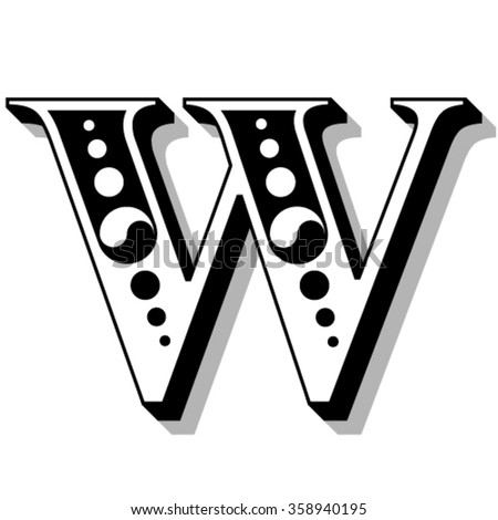 Classic vintage font, letter W, vector - stock vector