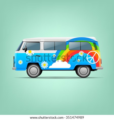 Classic vintage hippie van. Vector illustration. Peace and Love. - stock vector