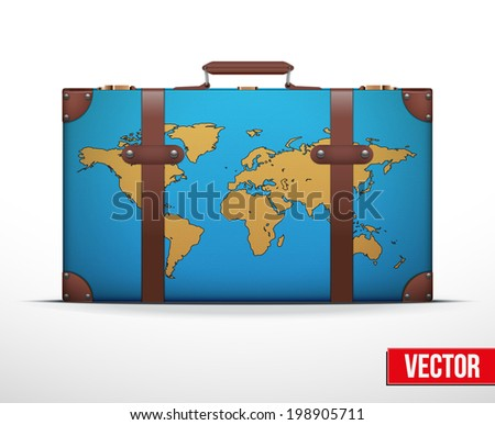 Classic vintage luggage suitcase with map for travel. Vector Illustration. Editable and isolated. - stock vector