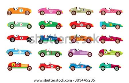 classic vintage racing sport car vector illustration collection - stock vector