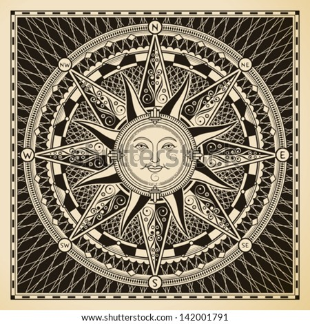 Classic vintage sun compass rose. - stock vector